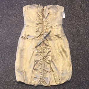 NWT Phoebe Couture gold strapless bubble dress